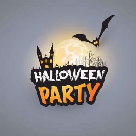 Halloween Party Card Template - Haunted Castle, Bare Trees, Flying Bat with Glowing Eyes