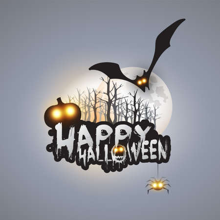 Happy Halloween Card Template Design - Flying Bat Over the Autumn Woods and Various Spooky Creatures with Glowing Eyes