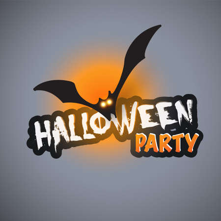 halloween party card template flying bat with glowing eyes royalty