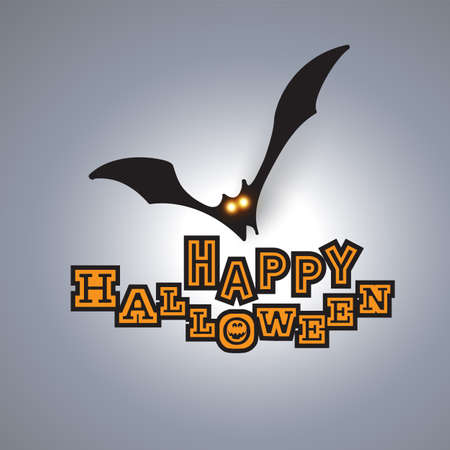 Happy Halloween Card Template - Flying Bat with Glowing Eyes.