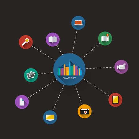 Dark Smart City, Cloud Computing, Internet of Things Design Concept - Digital Network Communication, Technology Background Illustration