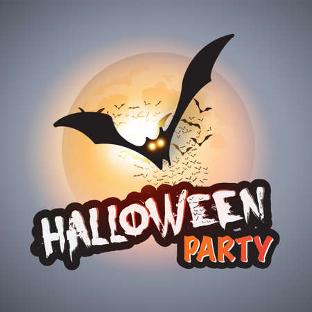Halloween Party Card Template - Flying Bats with Glowing Eyes
