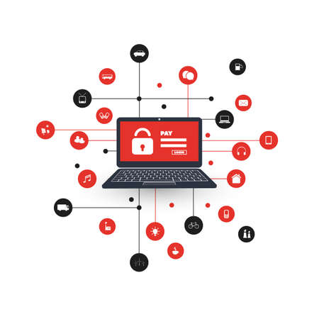 Vulnerabilidad de red - Virus, Malware, Ransomware, Fraude, Spam, Phishing, Scam de correo electrónico, Hacker Attack - Diseño de Concepto de Seguridad de TI Ilustración de vector