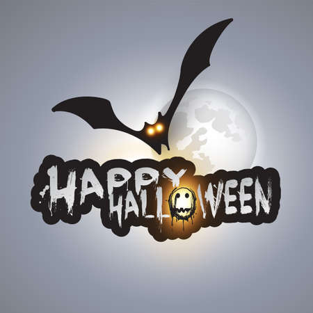 happy halloween card template flying bat over the moon with