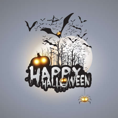 happy halloween card template design flying bats over the autumn
