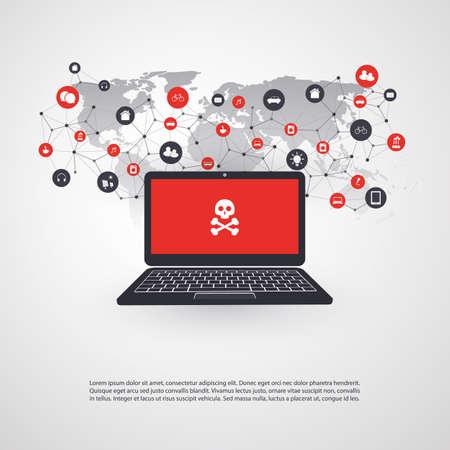 Vulnerabilidad de red - Virus, Malware, Ransomware, Fraude, Spam, Phishing, Scam de correo electrónico, Hacker Attack - Diseño de Concepto de Seguridad de TI