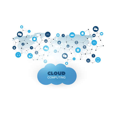 Cloud Computing Design Concept with Icons - Digital Network Connections, Smart Technology Background