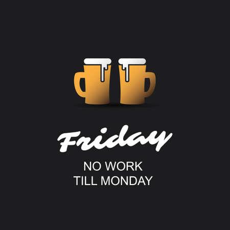 Venerdì - Nessun lavoro fino al lunedì - Banner con tazze di birra Archivio Fotografico - 86807949