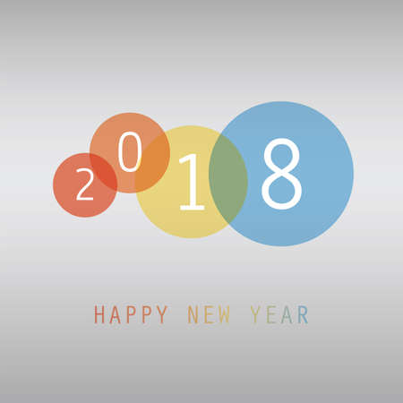 Best Wishes - Simple Colorful New Year Card, Cover or Background Design Template - 2018 Illustration