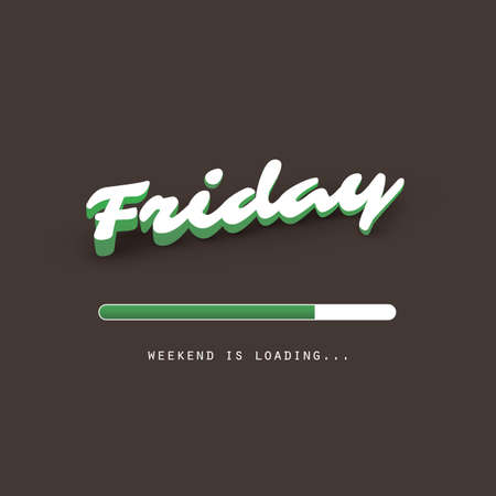 Friday - Weekend is Coming! - Banner Design Template Illustration