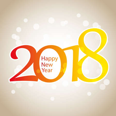 Sparkling Colorful New Year Card, Cover or Background Design Template - 2018