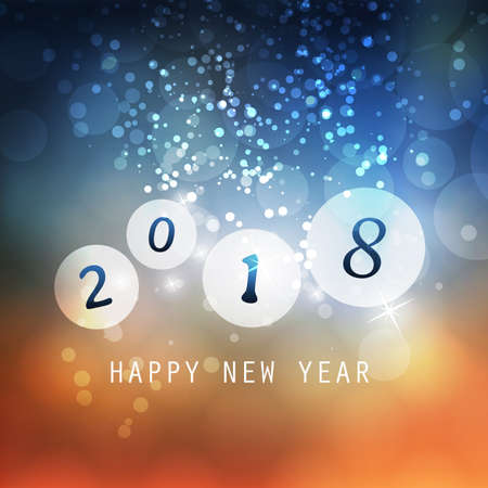 2018 Happy New Year Greeting Card On Sparkling Background