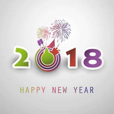 Best Wishes - Abstract Modern Style Happy 2018 New Year Greeting ...