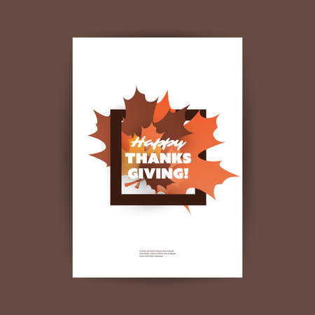 happy family: Happy Thanksgiving Card or Flyer Design Template with Autumn Leaves