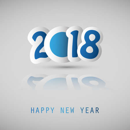 numeric: Simple blue and white 2018 Happy New Year card cover on a gray background.
