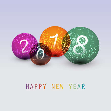 numeric: Best Wishes - Simple Colorful Abstract Modern Style Happy New Year Greeting Card, Cover or Background, Creative Design Template - 2018