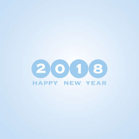numeric: Best Wishes - Blue Abstract Modern Style Happy New Year Greeting Card, Cover or Background, Creative Design Template - 2018 Illustration