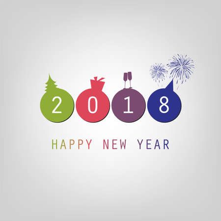 Modern simple minimal Happy New Year card background template. Stock Vector - 87516607