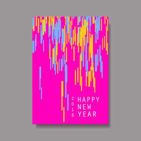 New Year Flyer, Card or Background Vector Design - 2018 Illustration