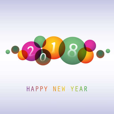 Best wishes, colorful abstract modern style Happy New Year greeting card. Illustration