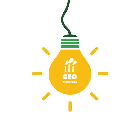 Geothermal Energy Concept Design - Bulb Icon Illustration