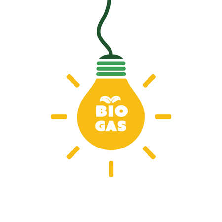 A bulb with bio gas text, green energy concept design. Illustration