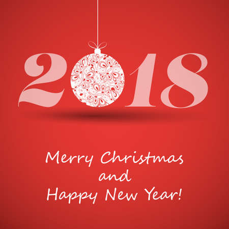 Prettige Kerstdagen en Wenskaart Gelukkig Nieuwjaar. Stock Illustratie