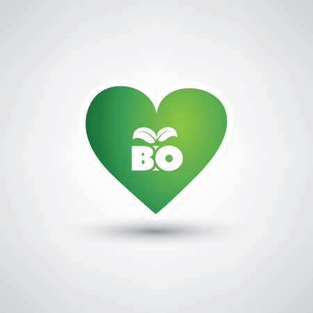 recursos naturales: Love Green - Design Concept with Heart Shaped Bio Label