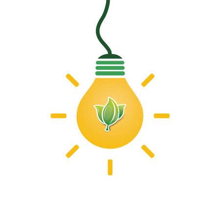 Green Eco Energy Concept Design - Leaves Inside a Light Bulb Illustration