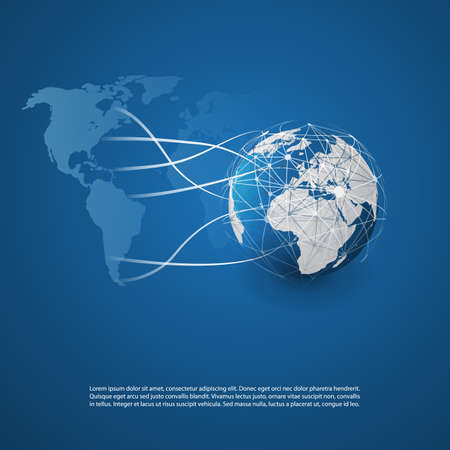 Cloud computing and networks concept with earth globe and world map. Abstract global digital communication, technology background. Illustration