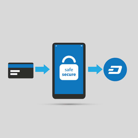 Secure Online Cryptocurrency Purchase Using Smart Phone - Dashcoin 版權商用圖片 - 89196699
