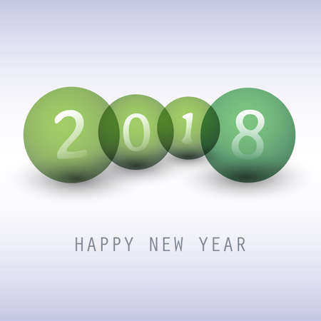Best Wishes - Green Abstract Modern Style Happy New Year Greeting Card, Cover or Background, Creative Design Template - 2018 Illustration