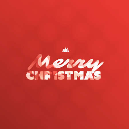 Happy Holidays, Merry Christmas Greeting Card With Label, on a Red Background