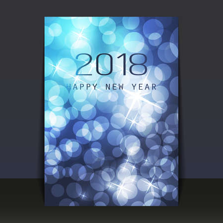 Ice Cold Blue Pattered Shimmering New Year Card, Flyer or Cover Design - 2018