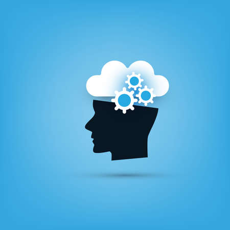 Machine Learning, Artificial Intelligence and Networks Design Concept with Cloud and Human Head Illusztráció