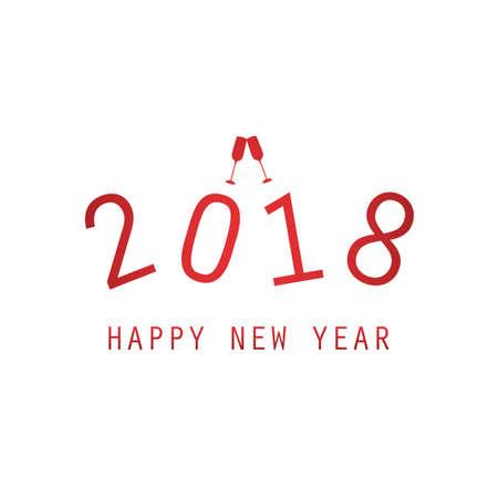 New Year 2018 typography vector Illustration