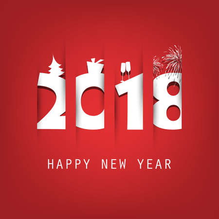 Simple Red and White New Year Card, Cover or Background Design Template With Christmas Tree, Gift Box, Drinking Glasses And Fireworks - 2018 Illustration