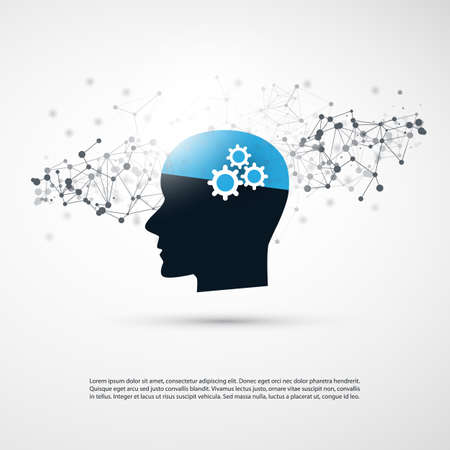 Machine Learning, Artificial Intelligence, Smart Technology and Networks Design Concept with Wireframe and Human Head