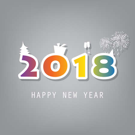 Best Wishes - Simple Colorful New Year Card, Cover or Background Design Template With Christmas Tree, Gift Box, Drinking Glasses And Fireworks - 2018