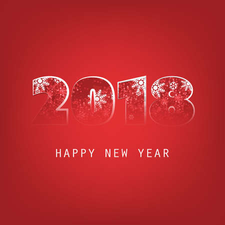 Simple White And Red New Year Card, Cover or Background Design Template - 2018. Illustration