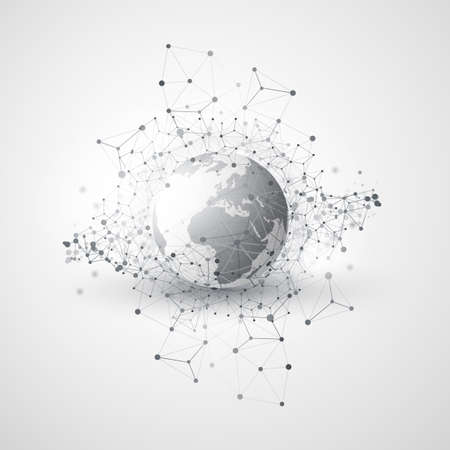 Abstract Global Network Communication Concept Design with Transparent Geometric Mesh, Earth Globe
