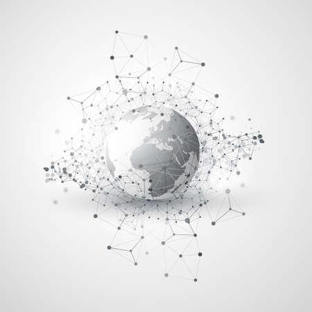 Abstract Global Network Communication Concept Design with Transparent Geometric Mesh, Earth Globe 版權商用圖片 - 90938870