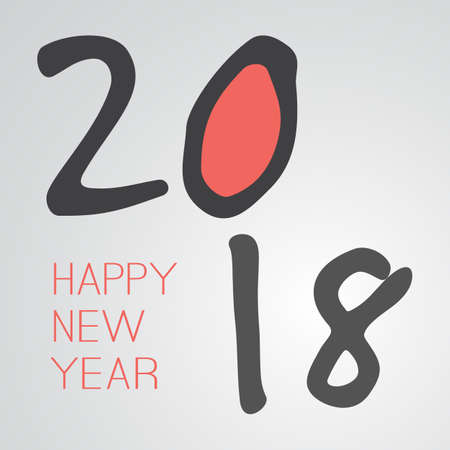 Best Wishes - Retro Style Happy New Year Greeting Card or Background, Creative Design Template - 2018 Illustration