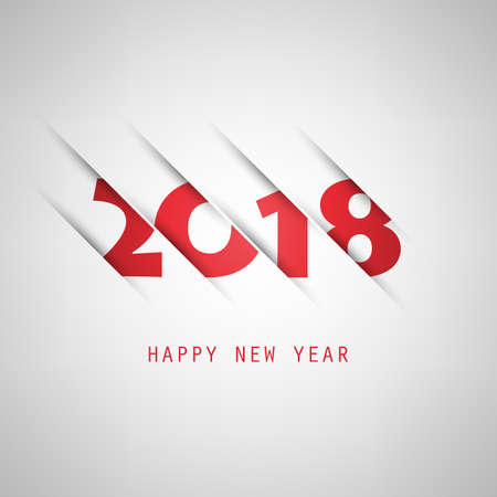 Simple red and grey New Year card, cover or background design template - 2018