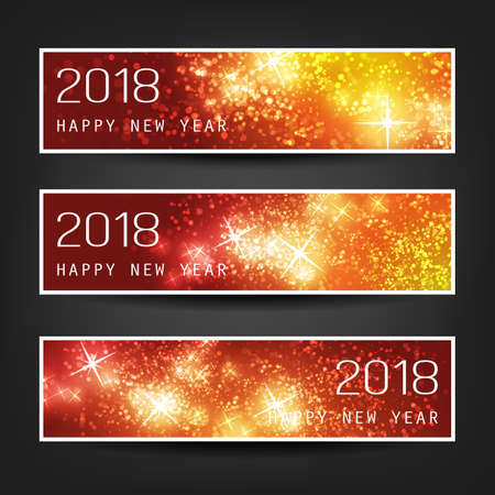 Set of Colorful Abstract Horizontal New Year Headers Banners for Year 2018