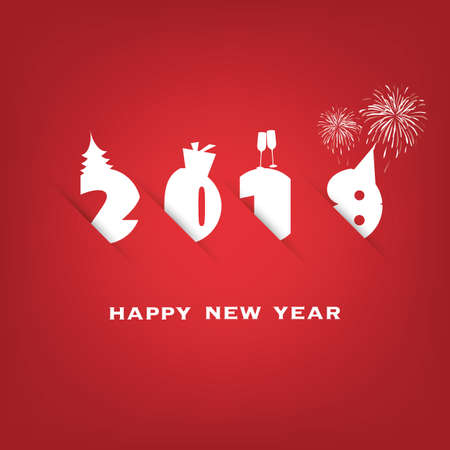 Simple Red and White New Year Card, Cover or Background Design Template - 2018