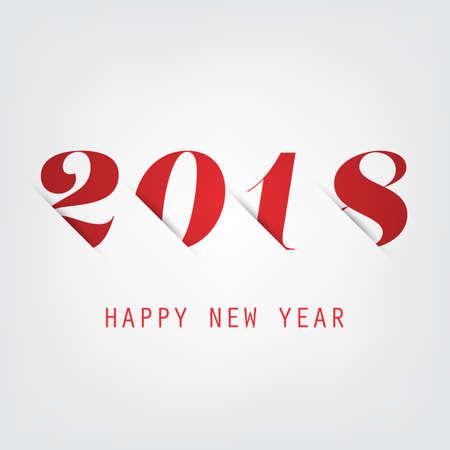 Tarjeta de año nuevo roja simple, portada o plantilla de diseño de fondo - 2018