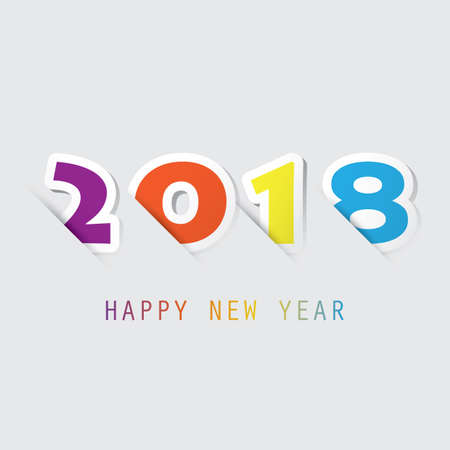 Simple Colorful New Year Card, Cover or Background Design Template - 2018
