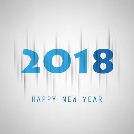 Simple Grey and Blue New Year Card, Cover or Background Design Template - 2018