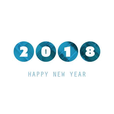 Eenvoudige blauwe en witte nieuwjaarskaart, dekking of achtergrond ontwerpsjabloon - 2018